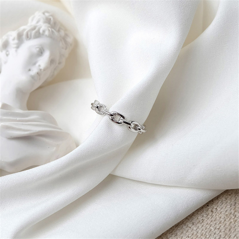Genuine 100% 925 Sterling Silver Rings for Women Simple Link Chain Silver Ring Party Causal Vintage Jewelry Dropshipping