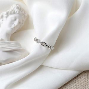 Silver Ring Link-Chain Jewelry Vintage Women 100%925-Sterling-Silver Simple Party Causal