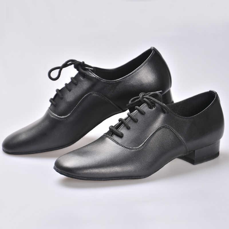 Latin Schoenen Bd Dansschoenen Voor Mannen Jongen Ballroom 100% Koeienhuid Duurzame Slijtage Sociale Dans Echt Leer Jazz Schoenen Non-Slip Zool