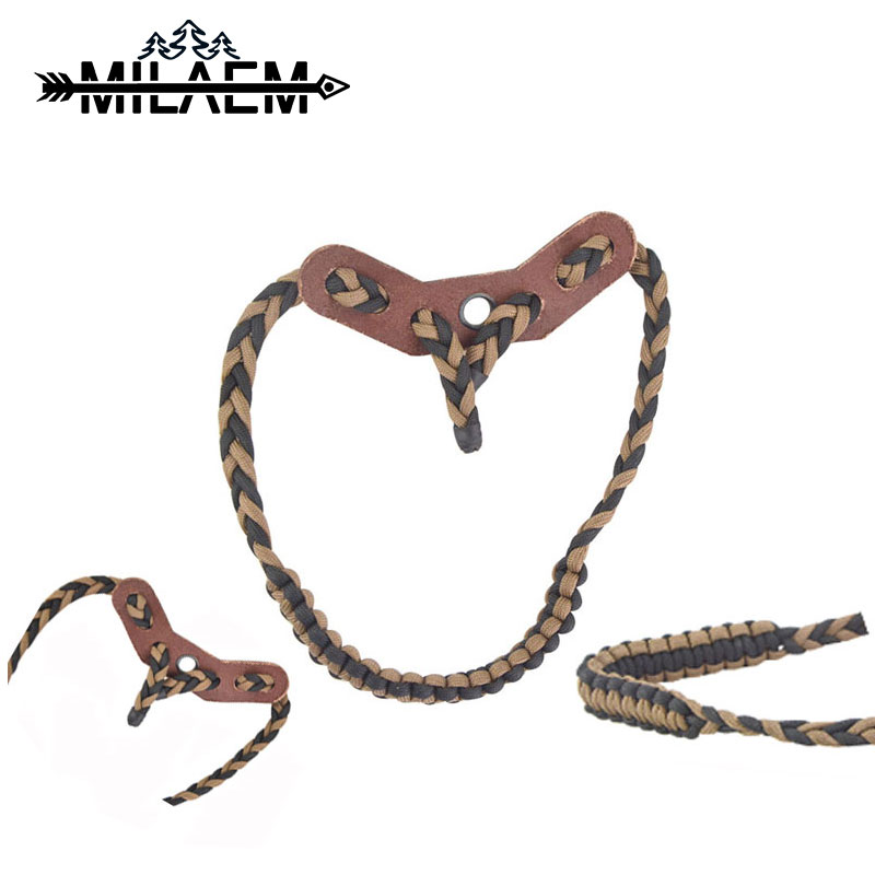 Adjustable Archery Shooting Bow Wrist Sling Strap Braided Cord with Leather