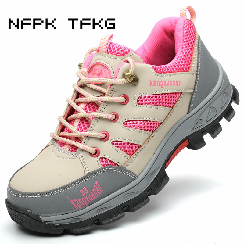 women fashion breathable steel toe covers work safety summer tooling shoes non-slip soft leather low boots protective footwear big size men casual breathable steel toe cap working safety shoes soft leather non slip tooling security boots protective zapato