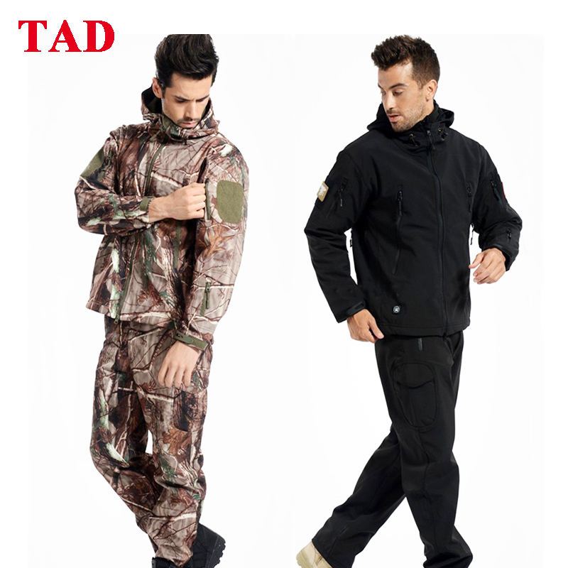 TAD Softshell veste tactique et pantalon hommes vêtements de randonnée en plein air costume de Camouflage militaire imperméable vêtements de chasse