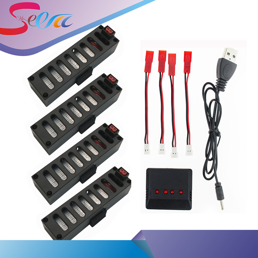 High Quality 4pcs 3.7V 500mAh 25C With 4 pcs JST Cable Lipo Battery 1in 4  Charger Set For JY018 e52 Drone for JY018 WiFi mini 3pcs battery and european regulation charger with 1 cable 3 line for mjx b3 helicopter 7 4v 1800mah 25c aircraft parts
