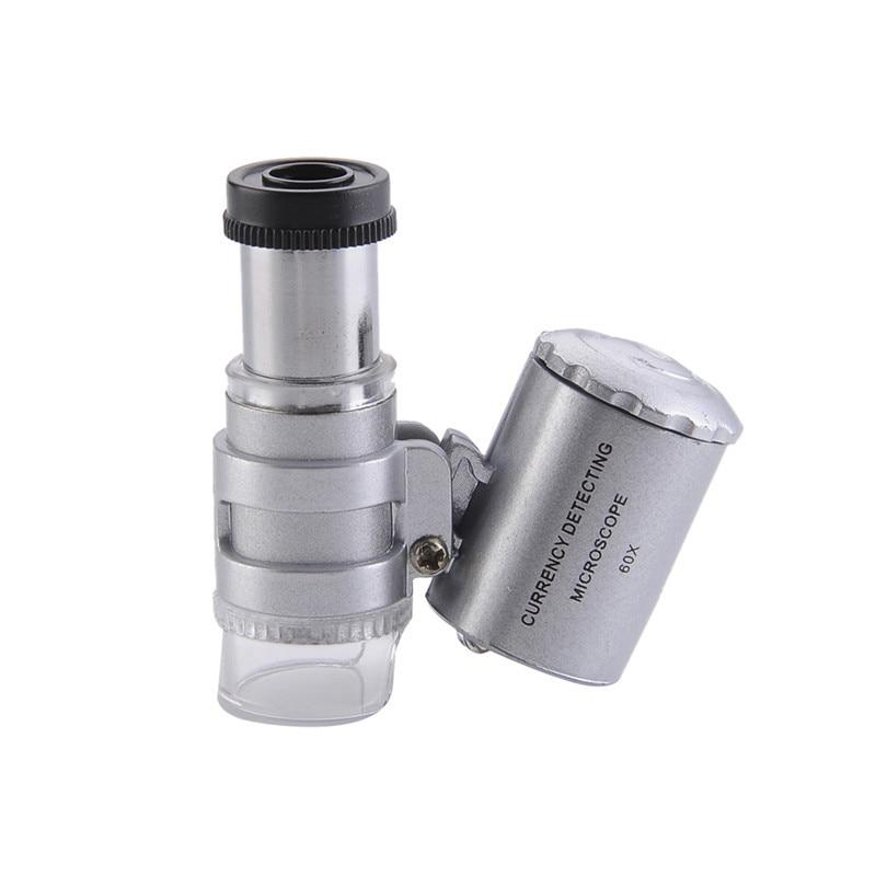 Portable 60x Handheld Mini Pocket Microscope Loupe Jeweler Magnifier With LED Light & case professional mini lens 60x pocket magnifier microscope with led light jewelry jeweler loupe currency dectector