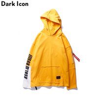 DARKICON Letter Print Patchwork Sleeve Men S Hoodie 2017 Autumn Front Pocket Sweatshirts And Hoodies Men