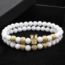 2pcs/set luxury Fashion Crown Charm Bracelet Natural Stone