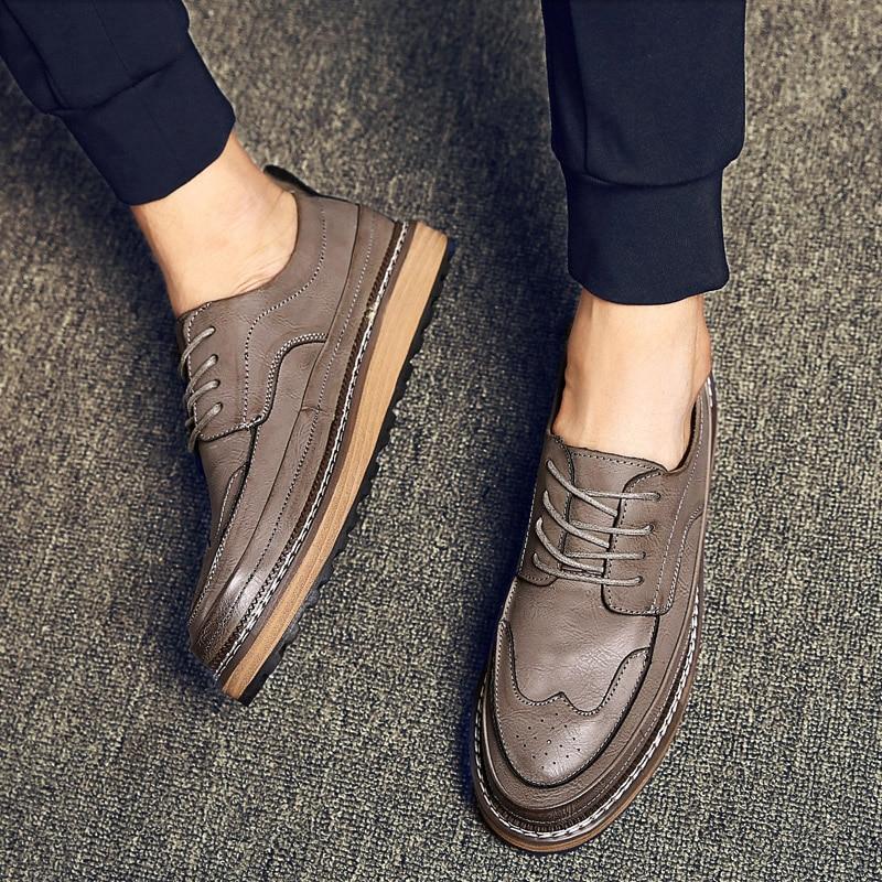 ФОТО Serene Fall Tide Man Brogue Shoes British Wind Men's Casual Shoes Retro Fashion  Shoes hard-wearing