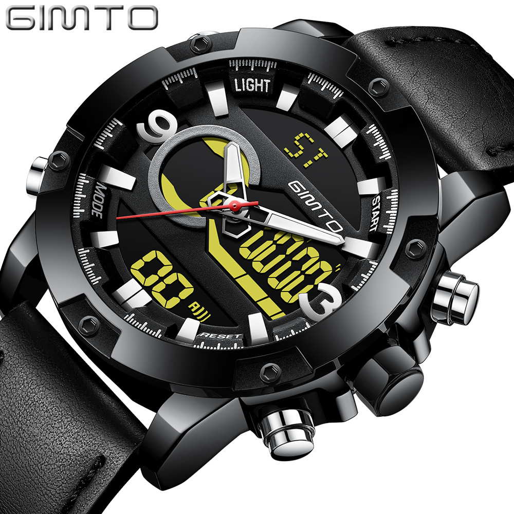 GIMTO Brand Sport Men Watch Dual Display Waterproof Digital Military Wrist Watches Male Leather Casual Clock Relogio Masculino gimto brand military digital sport watch men clock diving led watches army male dual time waterproof wristwatch relogio reloj