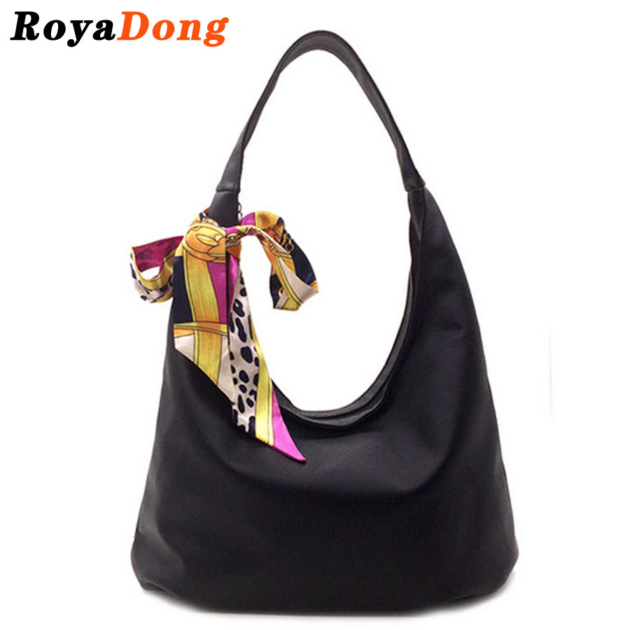 RoyaDong 2017 New Women's Handbag Shoulder Bags With Scarf Hobos Designer Hand Bags For Women Black Artifici Leather Bags Ladies