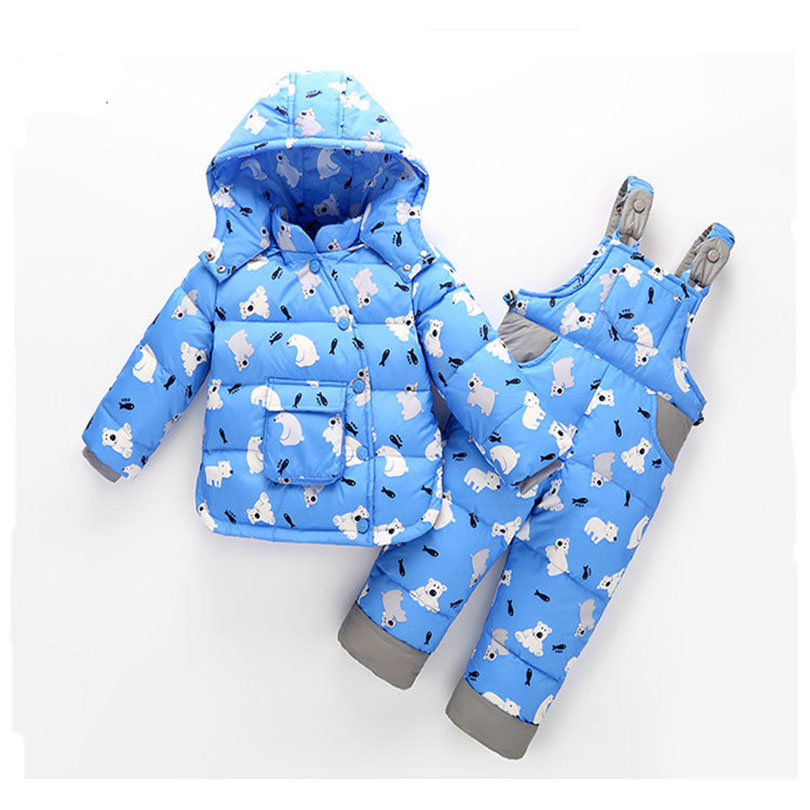 2017 New Baby Set Children Clothing Winter Down Jacket Boys And Girl Set Cartoon 2 Piece Winter Thick Warm Fit 2-4Y new 2016 baby down coats set baby down jacket suspenders girl