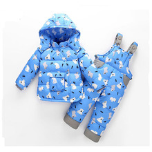 2017 New Baby Set Children Clothing Winter Down Jacket Boys And Girl Set Cartoon 2 Piece Winter Thick Warm Fit 2-4Y