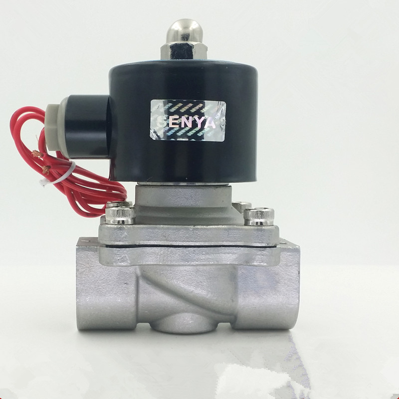 2 way DN35 DN40 DN50 stainless steel Electric Solenoid Valve 1-1/4 1-1/2 2 AC220V DC12V DC24V normally closed 5 2 way airtac solenoid valve 4v series 4v330c 08 1 4 close centerr dc24v ac220v