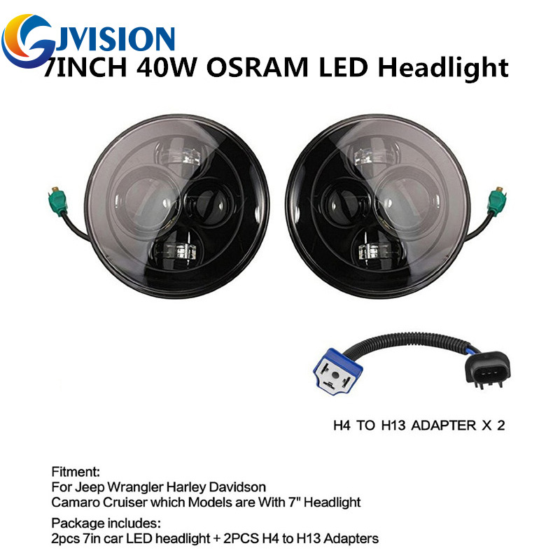 7'' inch 40W Black Daymaker Style LED Projection Headlight Kit for 07-15 Jeep Wrangler Unlimited JK 4 Door 2 piece set locking hood look catch hood latches kit for jeep wrangler jk rubicon sahara unlimited 2007 2016