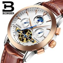2017 NEW luxury men's watches BINGER brand Mechanical Wristwatches Moon Phase sapphire full stainless steel clock B1188-7