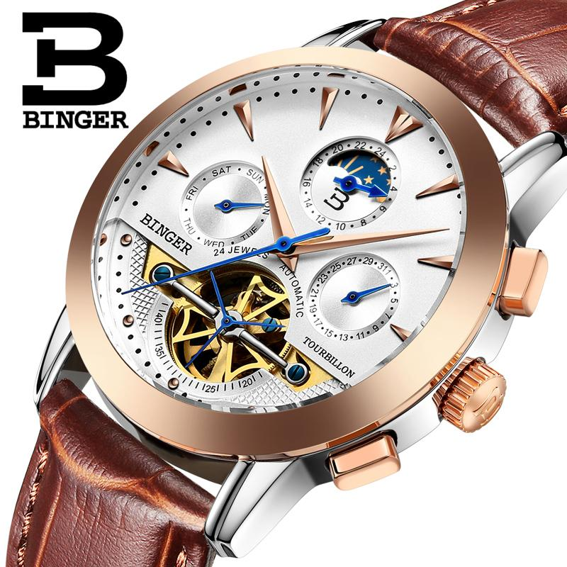2017 NEW luxury men's watches BINGER brand Mechanical Wristwatches Moon Phase sapphire full stainless steel clock B1188-7 brand new original japan niec indah pt150s16 150a 1200 1600v three phase rectifier module