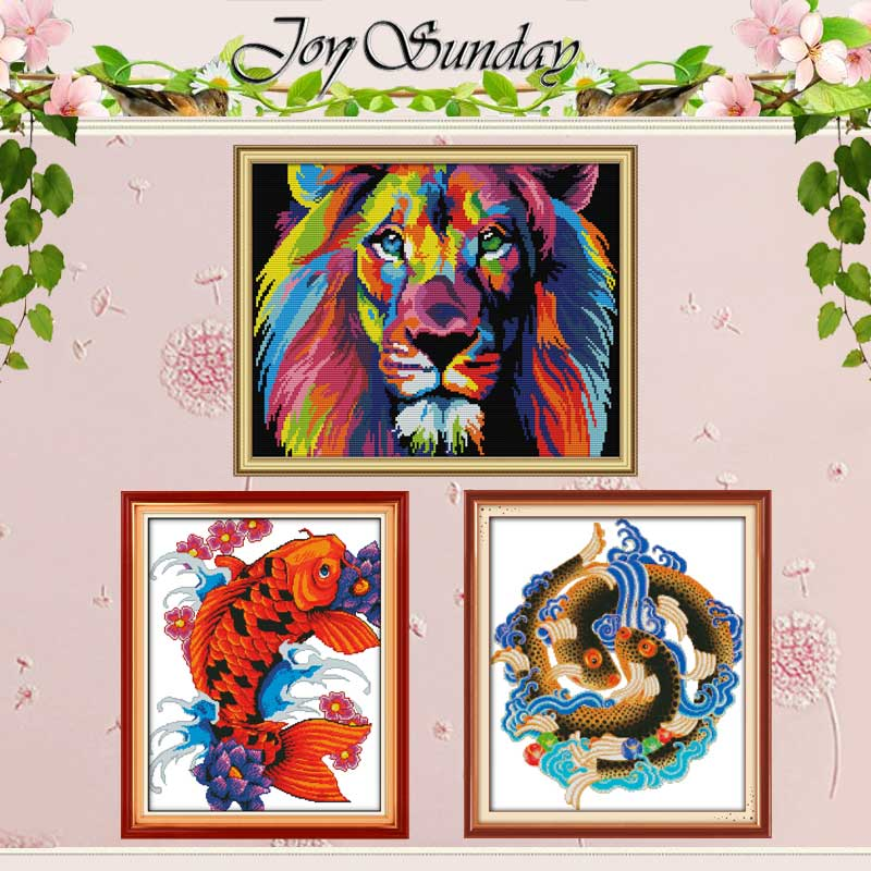 Coloured Lion Fish Counted 11CT 14CT Cross Stitch Set Wholesale DIY Animals Cross-stitch Kit Embroidery Needlework Home Decor