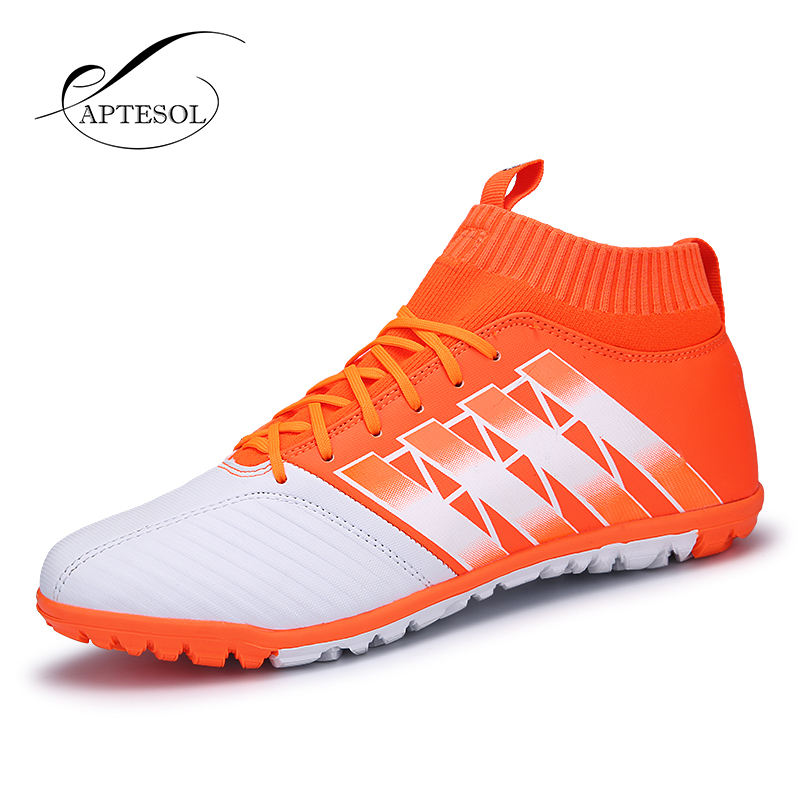 APTESOL Brand High Ankle Football Shoes For Mens Kids TF Training High Top  Soccer Cleats Soccer a1f67645f1277