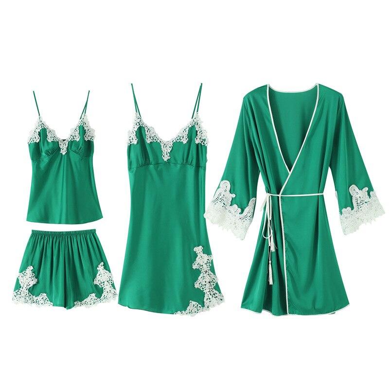 Rayonne vêtements de nuit femmes Kimono Robe de bain Sexy 4 pièces nuisettes printemps été rayonne Cami + Shorts + nuisette + Robe maison porter pyjama ensemble - 3