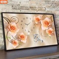 UzeQu 3D Diamond Embroidery Wall Clock 5D DIY Diamond Painting Watch Rose And Ring Cross Stitch