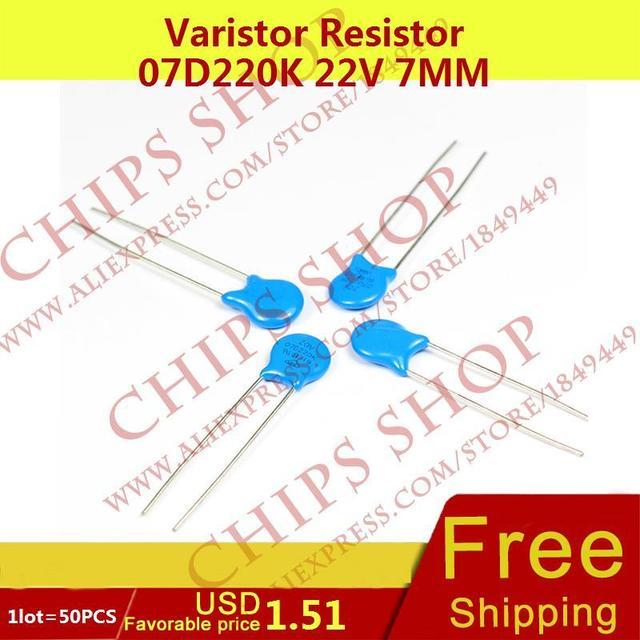 1 PARTIJ = 20 STKS Varistor Weerstand 07D220K 22 V 7 MM Series07D