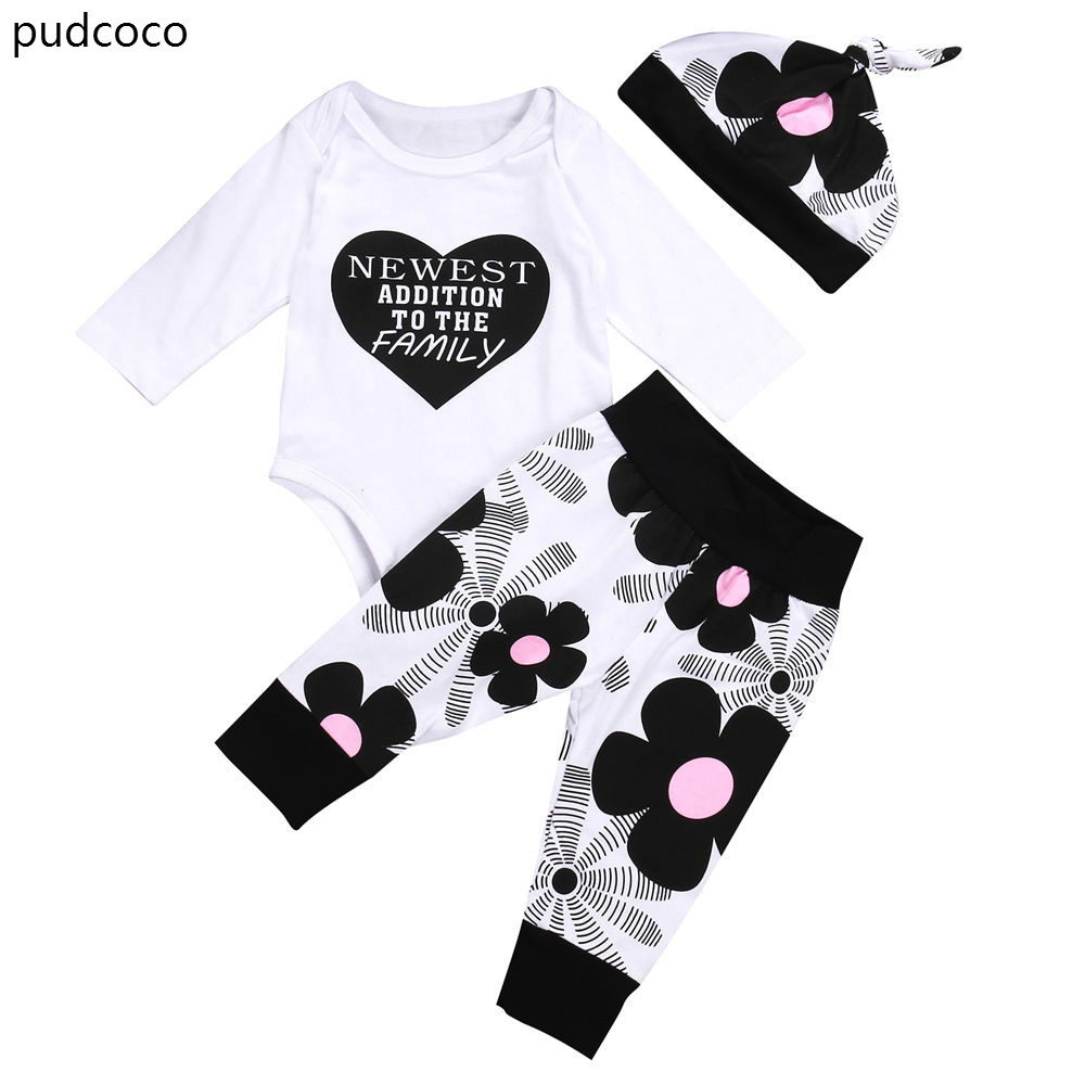 Cute Baby Girls Long Sleeve Autumn Outfits Newborn Baby Boy Girl Cotton Letters Love Heart Rompers Flower Pants Hat Set Clothes