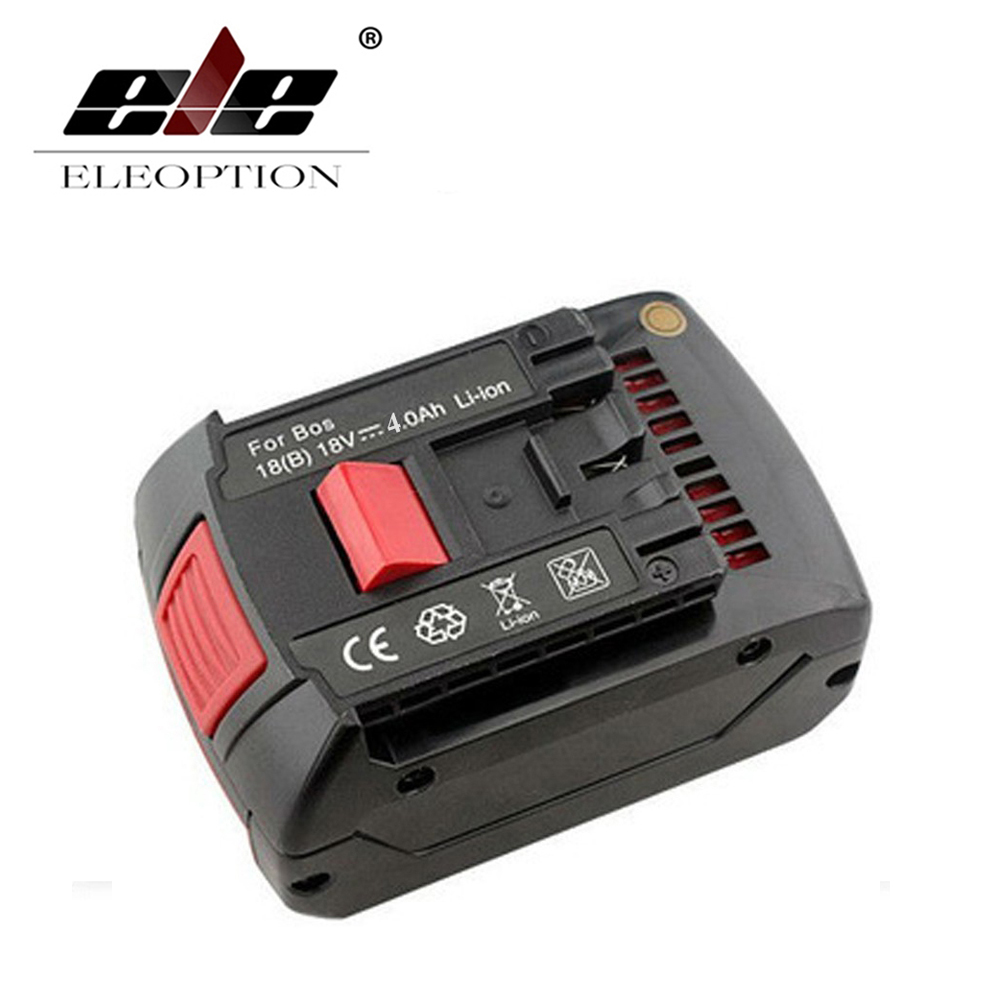 ELEOPTION 18V 4.0Ah 4000mAh Li-ion Replacement Rechargeable Battery for Bosch 17618 BAT609 BAT618 With LED Light набор bosch рубанок gho 18 v li 0 601 5a0 300 адаптер gaa 18v 24