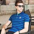 XXXL Размер Высокое Качество Нового мужская Polo Рубашки Марка Одежды полосатый Синий Поло Рубашки Мужчин Slim Fit Бизнес Camisa Поло рубашки