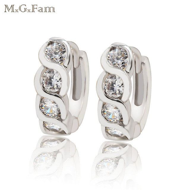 a4e713a62 MxGxFam Small Cute Hoop Earrings For Women Curve Designs AAA+ Cubic Zircon  White Gold Color Hot Selling Cheaper price