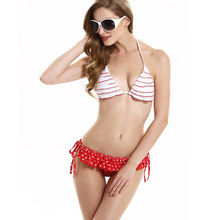 Sexy Women Beach Bikini Red and White Stripes Bra Straps White Dot Red Laminated Flowers Lace