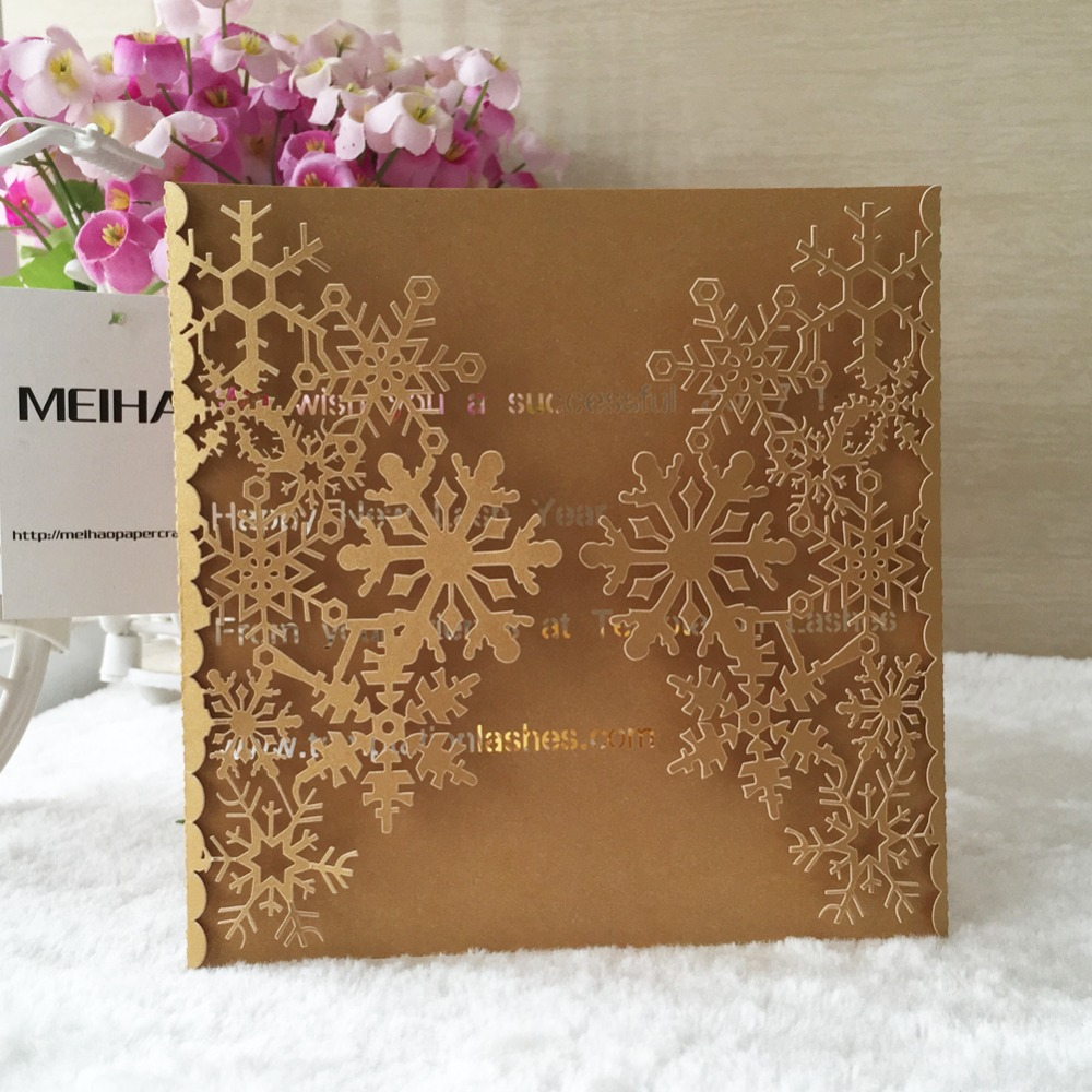 Us 24 57 46 Off 30pcs Laser Cut 250gsm Pearl Paper Christmas Theme Greeting Blessing Card Snowflake Design Wedding Invitation Cards In Cards