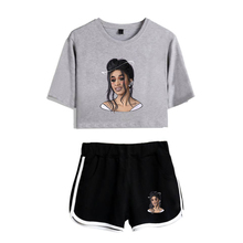 Rapper Cardi B Print Women Two Piece Set and Short Pants Summer Girl Navel T shi