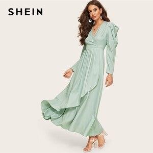 Image 3 - SHEIN zielona komoda dekolt zebrany rękaw asymetryczna hidżab prosta sukienka kobiety V Neck bufiaste rękawy wysoka talia długa linia sukienka