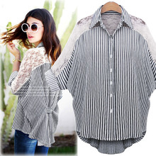 Fashion Women's Chiffon Striped Lace Patchwork Flare Sleeve Turn Down Collar Casual Shirt Plus Size L-6XL