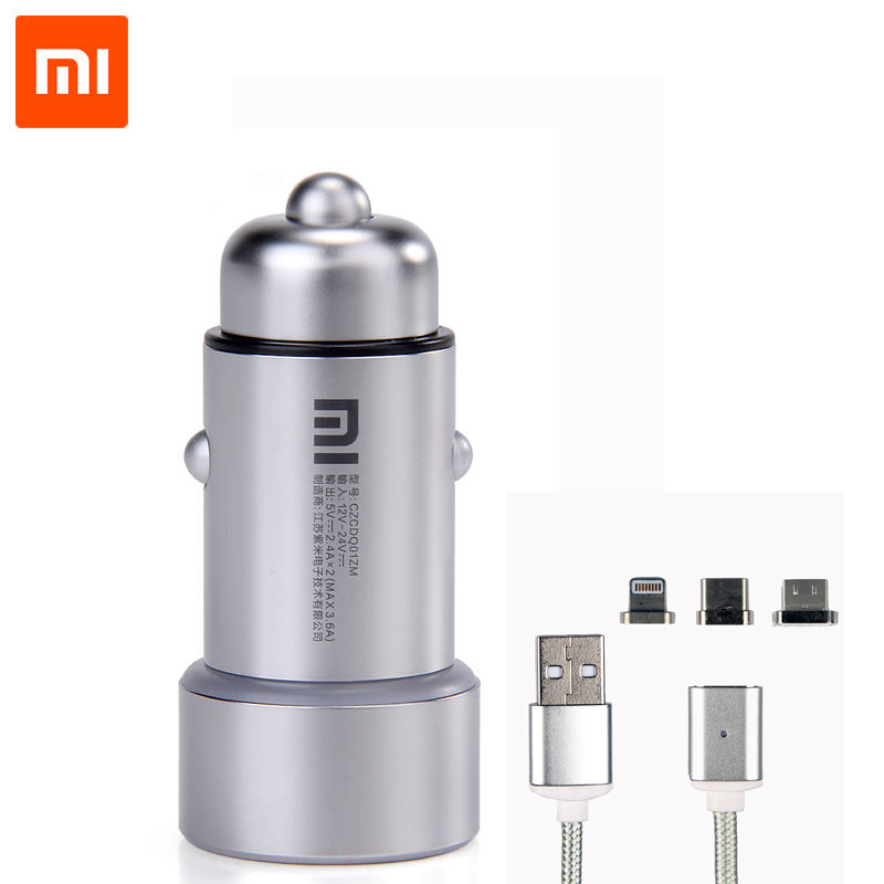 Original Xiaomi Car Charger Dual USB Fast Charging Universal Mi Car Charger With Magnetic Cable For Most Phones Tablet PC