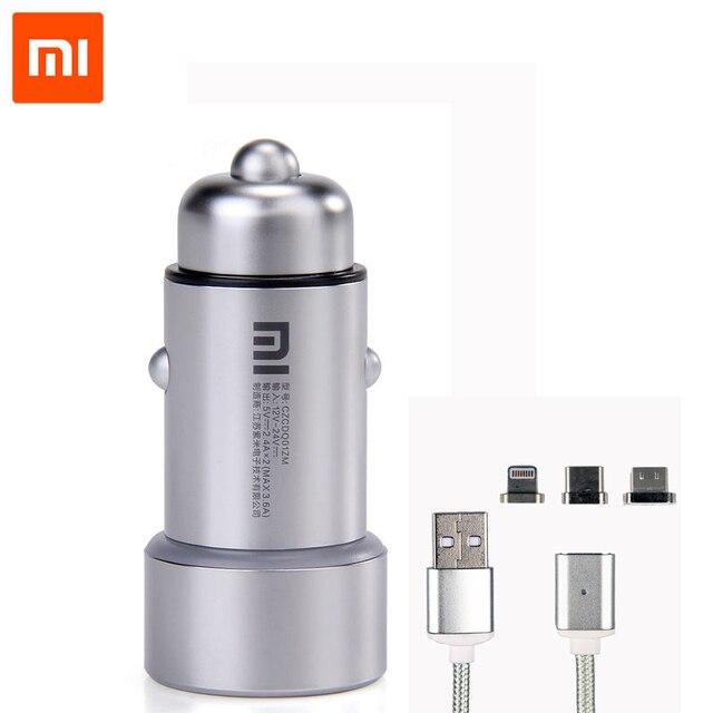 Original Xiao mi Auto Ladegerät Dual USB Schnelle Lade Universal mi Auto Ladegerät mit Magnetische kabel Für Die Meisten Handys Tablet PC