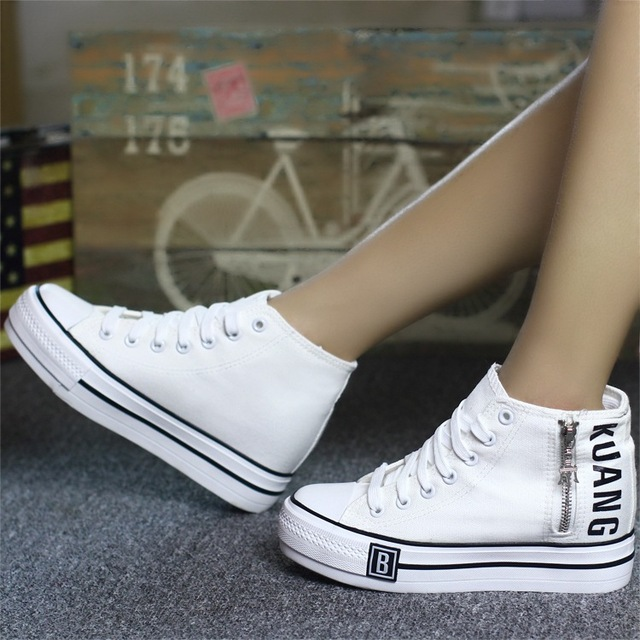 2017 Nice White Black Lace-up Canvas American Casual Shoes Woman New Low Shoes Platform Shoes Women Flat Casual Ladies Shoes