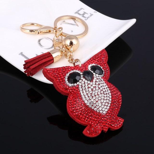Rhinestone Owl Keychain Keyring