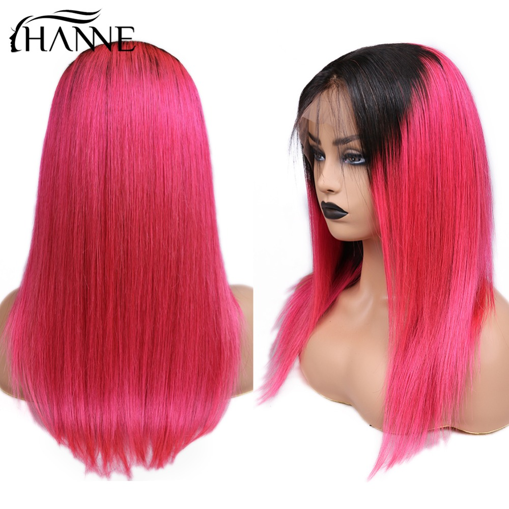 HANNE Human Hair Wigs Pre Plucked Ombre Pink/99J/Purple Straight Human Hair Wigs 13*4 Frontal 150% Density Wigs With Baby Hair