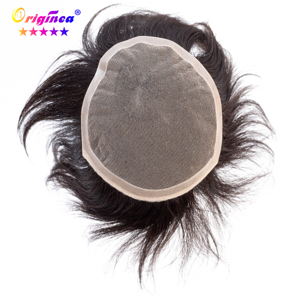 Originea Human Hair Toupee for Men Lace Net Base Hair Length 15 cm 100% Human Hair Toupee Replacement System Natural Black Color