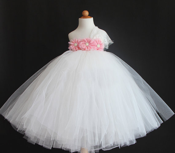 Fashion White Tutu Baby Girl Kids Dress Wedding Infant Ball Gown First Birthday Party Flowers Girls Clothes Princess Costume In Dresses From Mother