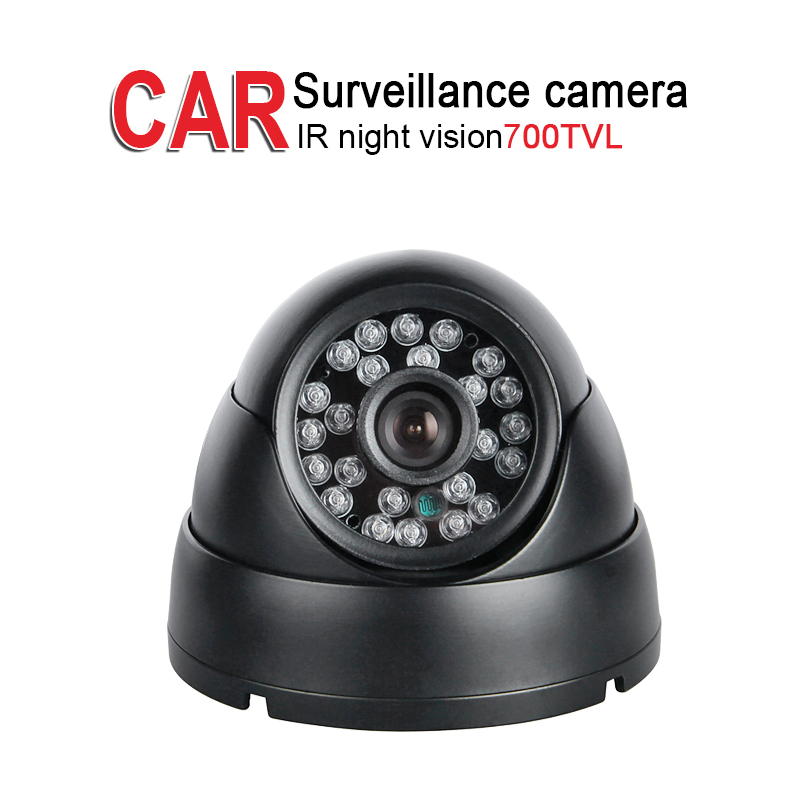 Free Shipping 700TVL Vehicle Camera 1/3 CCD Sony IR Night Vision Aviation/AV/BNC Mirror Dome Camera for School Bus Truck Vans