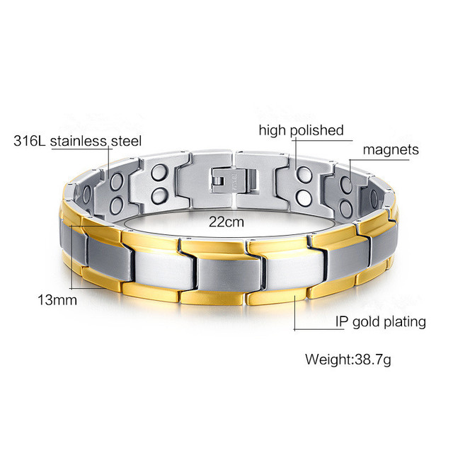 fashion Gold-plated Men's Health Bracelets & Bangles Magnetic H Power Stainless Steel Charm Bracelet Jewelry For Man