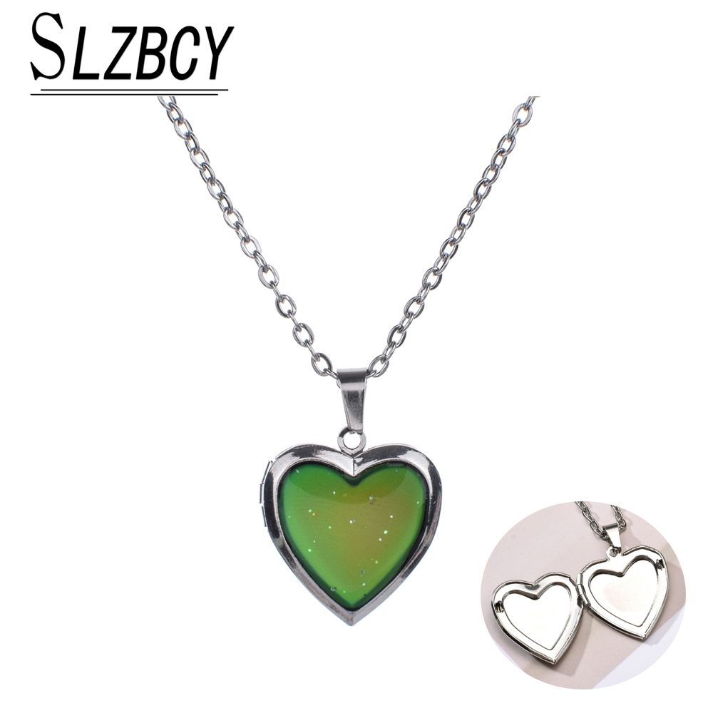 New Fashion Can Open Photo Frames Heart Pendant Mood Necklaces Emotion Color Change Locket Long Chain Necklace Women Jewelry