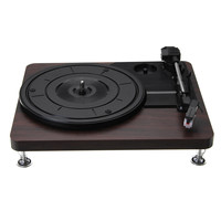 Wood Color Record Retro Player 33RPM Portable Audio Gramophone Turntable Disc Vinyl Audio RCA R/L 3.5mm Output Out USB DC 5V