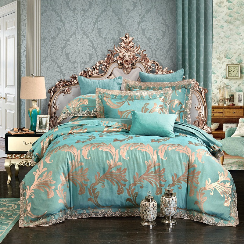 4Pcs Queen King size Luxury Jacquard Lace Bedding set Blue Silver Green Cotton Bed cover Duvet cover Bed sheet set pillowcase