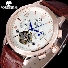 FORSINING brand men fashion mechanical Tourbillon watches luxury men s automatic skeleton rose gold watches relogio