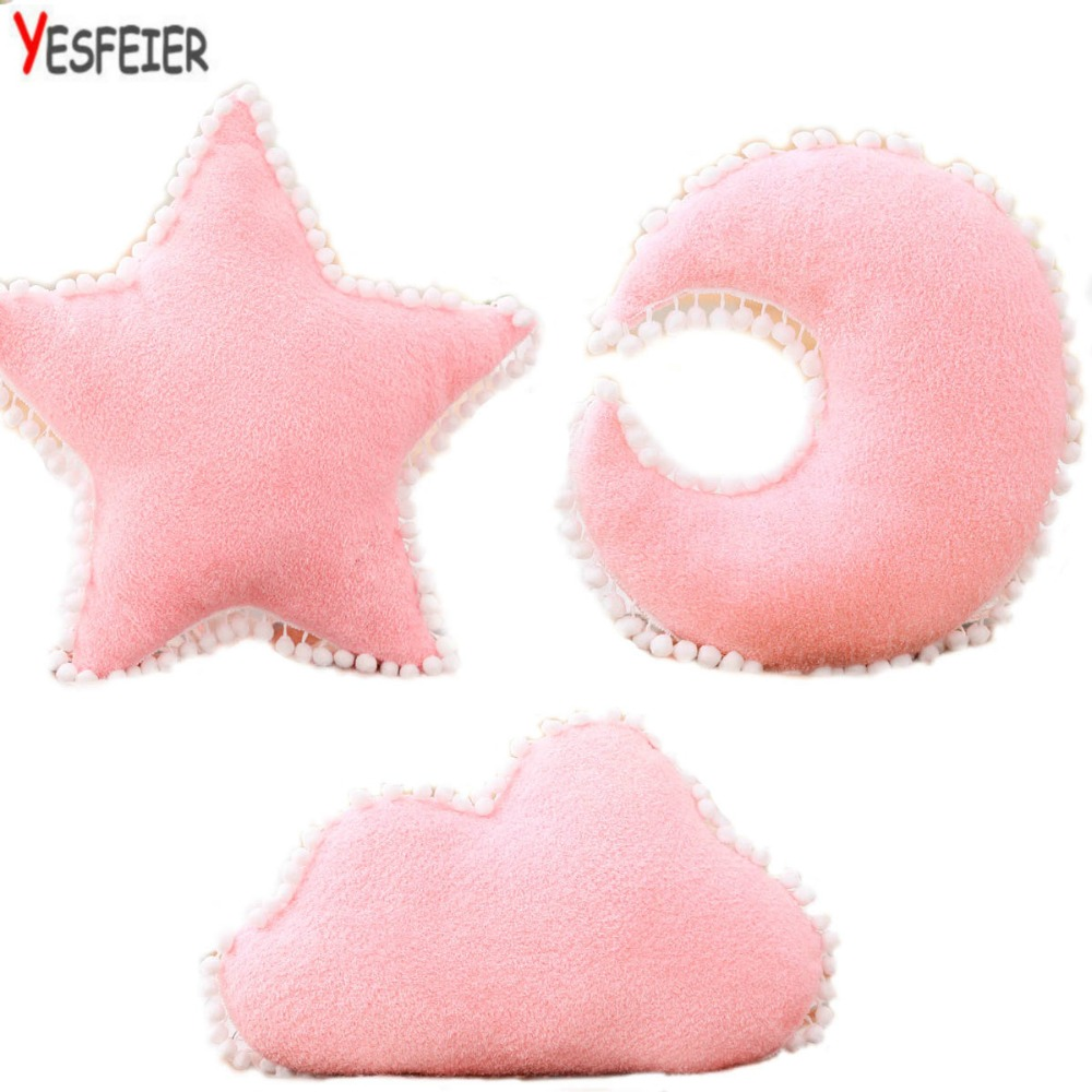 Kawaii Soft Plush Moon Star Pillow Placate Stuffed Plush Toys For Baby Children Room Decorative Embroidery Cushion Pillow Gift