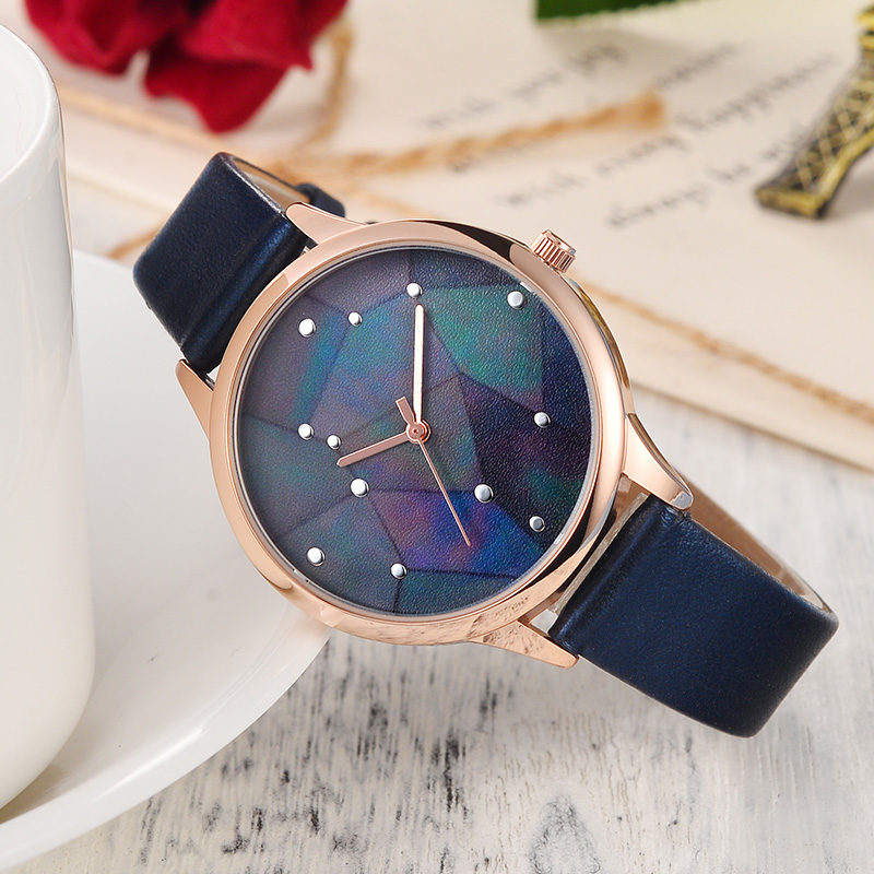 IBSO Brand Fashion Starry sky Women Watches 2018 Blue Leather Strap Quartz Watch Women Galaxy Ladies Watch Casual Montre Femme gaiety g385 women s starry sky face leather band quartz watch