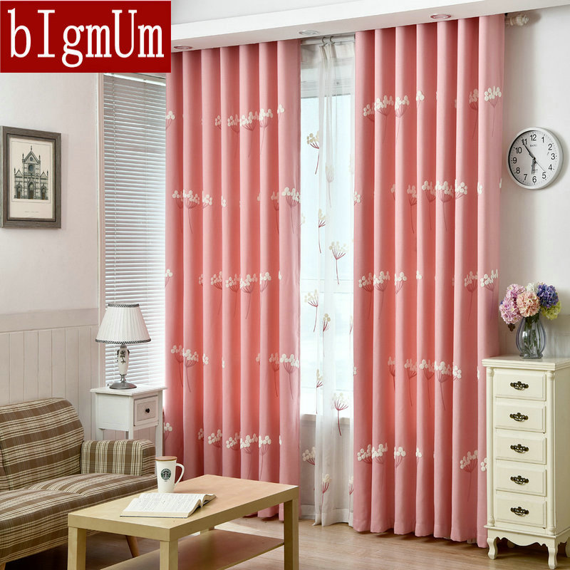 On Sale! Excellent Quality Linen Curtain With Embroidered Dandelion Pattern Luxury Blinds 3d Pink / Blue Printed Trees Flowers