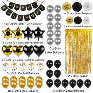 Image 4 - OurWarm 51Pcs Birthday Party Decorations Set Black Gold Happy Birthday Banner Balloons Paper PomPoms Foil Tinsel Fringe Curtain